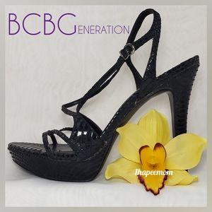 BCBGeneration Black Strappy Platform Heels